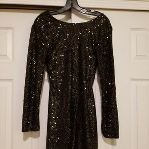 New w/tag black sequin peek back cocktail dress